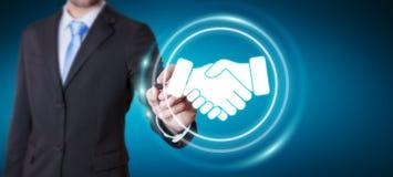 Businessman using digital presentation for partnership business. Businessman on blurred background using digital presentation for partnership business 3D Royalty Free Stock Photos