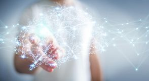 Businessman using digital x-ray human brain interface 3D renderi. Businessman using digital x-ray human brain interface with cell and neurons activity 3D Stock Photography