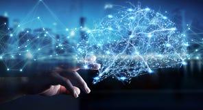 Businessman using digital x-ray human brain interface 3D renderi. Businessman using digital x-ray human brain interface with cell and neurons activity 3D Royalty Free Stock Image