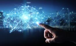 Businessman using digital x-ray human brain interface 3D renderi. Businessman using digital x-ray human brain interface with cell and neurons activity 3D Royalty Free Stock Photography