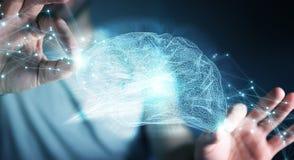 Businessman using digital x-ray human brain interface 3D renderi. Businessman using digital x-ray human brain interface with cell and neurons activity 3D Royalty Free Stock Photo