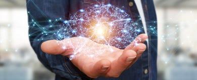 Businessman using digital x-ray human brain interface 3D renderi. Businessman using digital x-ray human brain interface with cell and neurons activity 3D Stock Image