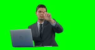Businessman using digital screen and laptop stock video footage