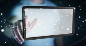 Businessman using digital screens tablet 3D rendering. Businessman on blurred background using digital screens tablet 3D rendering Royalty Free Stock Photos