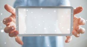 Businessman using digital screens tablet 3D rendering. Businessman on blurred background using digital screens tablet 3D rendering Stock Image