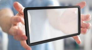 Businessman using digital screens tablet 3D rendering. Businessman on blurred background using digital screens tablet 3D rendering Stock Images