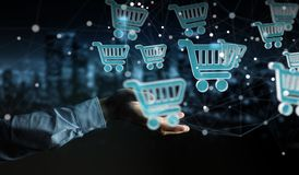 Businessman using digital shopping icons 3D rendering. Businessman on blurred background using digital shopping icons 3D rendering Royalty Free Stock Images