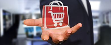 Businessman using digital shopping icons 3D rendering. Businessman on blurred background using digital shopping icons 3D rendering Royalty Free Stock Photos