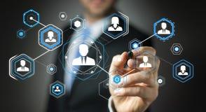 Businessman using digital social network 3D rendering Stock Image