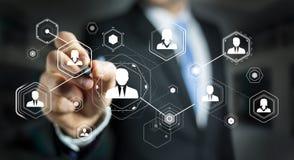 Businessman using digital social network 3D rendering Stock Photos