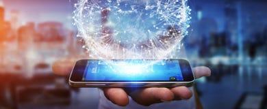Businessman using digital tactile world interface Stock Image