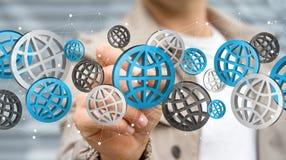 Businessman using digital web icons '3D rendering' Royalty Free Stock Photos
