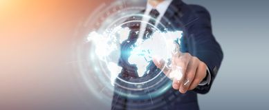 Businessman using digital world map interface 3D rendering. Businessman on blurred background using digital world map interface 3D rendering Royalty Free Stock Images