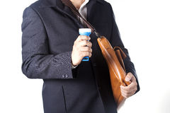 Businessman using flashlight Stock Images