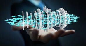Businessman using floating modern gear mechanism 3D rendering. Businessman on blurred background using floating gear icons 3D rendering Royalty Free Stock Photo