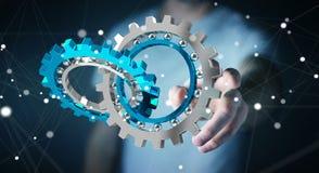 Businessman using floating modern gear mechanism 3D rendering Stock Photos