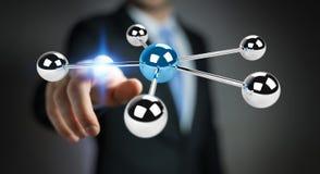 Businessman using flying 3D spheres network 3D rendering. Businessman on blurred background using flying 3D spheres network 3D rendering Stock Image