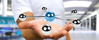 Businessman using flying 3D spheres network 3D rendering Royalty Free Stock Photo