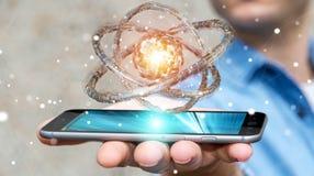 Businessman using futuristic torus textured object 3D rendering Stock Photos