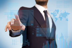 BusinessMan using futuristic touch screen Royalty Free Stock Image
