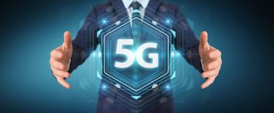 Businessman using 5G network interface 3D rendering. Businessman on blurred background using 5G network interface 3D rendering Royalty Free Stock Photos