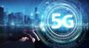 Businessman using 5G network interface 3D rendering. Businessman on blurred background using 5G network interface 3D rendering Stock Photo