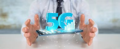 Businessman using 5G network with mobile phone 3D rendering. Businessman on blurred background using 5G network with mobile phone 3D rendering Stock Photo