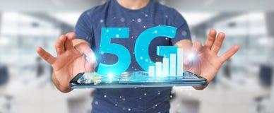 Businessman using 5G network with mobile phone 3D rendering. Businessman on blurred background using 5G network with mobile phone 3D rendering Vector Illustration