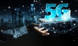 Businessman using 5G network with mobile phone 3D rendering. Businessman on blurred background using 5G network with mobile phone 3D rendering Royalty Free Stock Image
