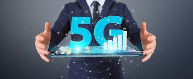 Businessman using 5G network with mobile phone 3D rendering. Businessman on blurred background using 5G network with mobile phone 3D rendering Royalty Free Illustration