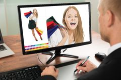 Businessman using graphic tablet for sketching Royalty Free Stock Photography