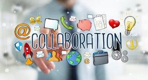 Businessman using hand-drawn collaboration presentation Stock Image