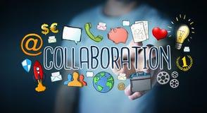 Businessman using hand-drawn collaboration presentation Stock Photo
