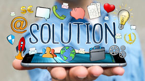 Businessman using hand-drawn solution presentation. Businessman on blurred background using hand-drawn solution presentation Royalty Free Stock Image