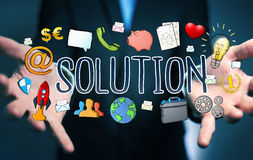 Businessman using hand-drawn solution presentation. Businessman on blurred background using hand-drawn solution presentation Stock Image