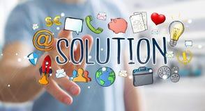 Businessman using hand-drawn solution presentation. Businessman on blurred background using hand-drawn solution presentation Royalty Free Stock Photos