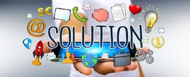 Businessman using hand-drawn solution presentation. Businessman on blurred background using hand-drawn solution presentation Royalty Free Stock Images