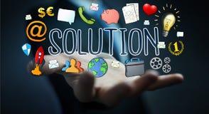 Businessman using hand-drawn solution presentation. Businessman on blurred background using hand-drawn solution presentation Stock Photography