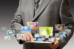 Businessman using his digital tablet Stock Photography