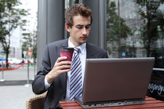 Businessman using his laptop in cafe Royalty Free Stock Image