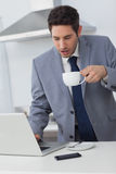 Businessman using his laptop while drinking coffee Royalty Free Stock Images