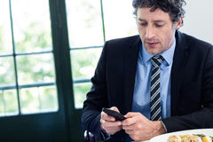 Businessman using his mobile phone at restaurant Royalty Free Stock Photos