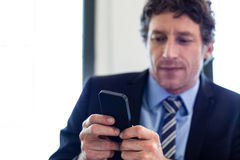 Businessman using his mobile phone at restaurant Royalty Free Stock Image