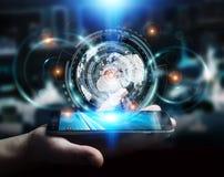Businessman using hologram screen with digital data Stock Image