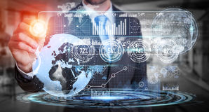 Businessman using hologram screen with digital data Royalty Free Stock Photos