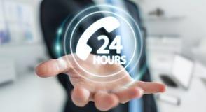 Businessman using hotline customer assistance 3D rendering. Businessman on blurred background using hotline customer assistance 3D rendering Stock Photography