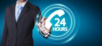 Businessman using hotline customer assistance 3D rendering. Businessman on blurred background using hotline customer assistance 3D rendering Royalty Free Stock Photos