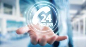Businessman using hotline customer assistance 3D rendering. Businessman on blurred background using hotline customer assistance 3D rendering Stock Image