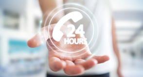 Businessman using hotline customer assistance 3D rendering. Businessman on blurred background using hotline customer assistance 3D rendering Stock Images