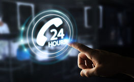 Businessman using hotline customer assistance 3D rendering. Businessman on blurred background using hotline customer assistance 3D rendering Royalty Free Stock Photography